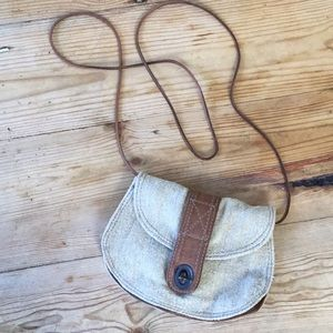 Banana Republic Linen & Leather Cross Body Bag